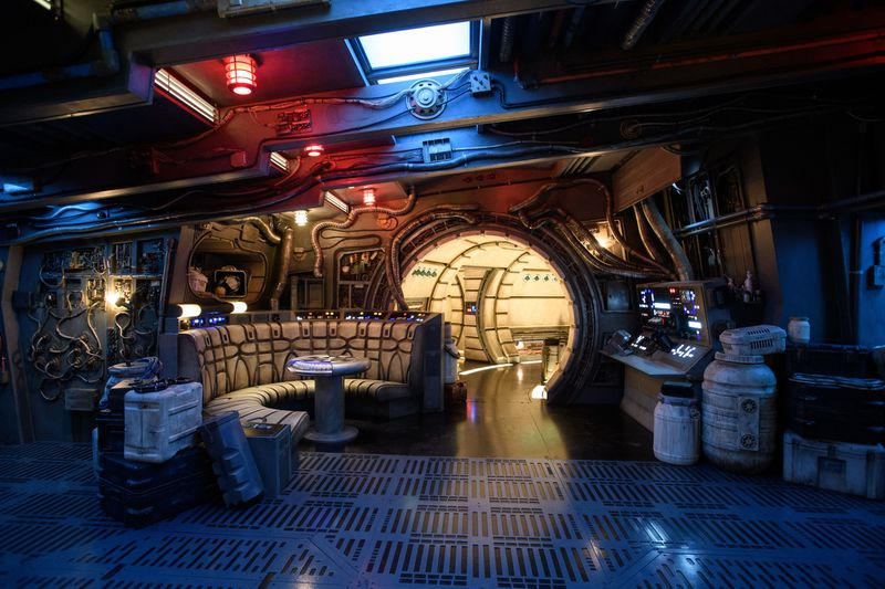 The famous main hold lounge is one of several areas guests will discover inside Millennium Falcon: Smugglers Run before taking the controls in one of three unique and critical roles aboard the fastest ship in the galaxy at Star Wars: Galaxy's Edge at Disneyland Park in Anaheim, Calif., and at Disney's Hollywood Studios in Lake Buena Vista.