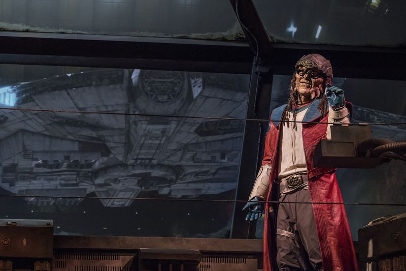 The notorious Weequay pirate, Hondo Ohnaka, gives guests their mission prior to boarding Millennium Falcon: Smugglers Run at Star Wars: Galaxy's Edge at Disneyland Park in Anaheim, Calif., and at Disney's Hollywood Studios in Lake Buena Vista.