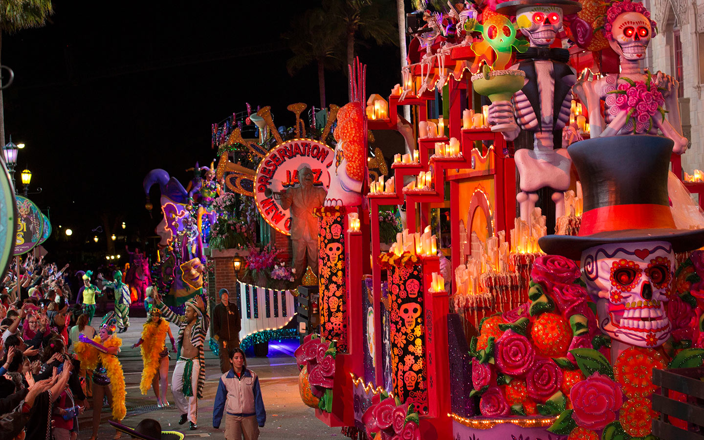 Catch tons of beads during Universal Orlando Resort's Mardi Gras celebration