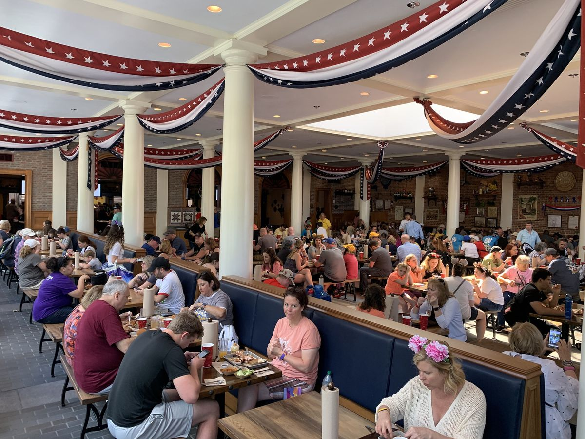 Decor of Regal Eagle Smokehouse, a freshly opened restaurant at Epcot, is decidedly patriotic. Its menu is heavy on barbecue options.